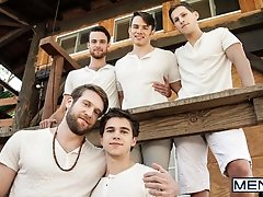 The Cult Part 3 - Addison Graham, Brandon Moore, Colby Keller, Roman todd and Will Braun  -  Jizz Orgy